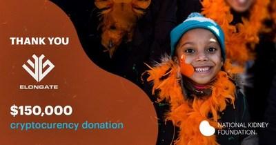 ELONGATE donates US$150,000 to the National Kidney Foundation.