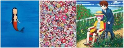 Hi-Lite: izquierda: Liu Ye (n. 1964) - Little mermaid (2004); centro: Takashi Murakami (n. 1962) - Dazzling Circus (2013); derecha: Mr. (n. 1969) - Don't go anywhere (2006)
