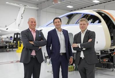Eviation leadership (Left to Right) Executive Chairman Roei Ganzarski, CEO Omer Bar-Yohay and President Gregory Davis.